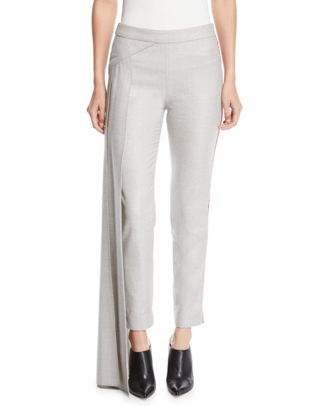 Hellessy Side Drape Panel Fitted Skinny-Leg Metallic Flannel Pants