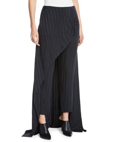 Slim-Leg Striped Slim-Leg Pants with Skirt Overlay