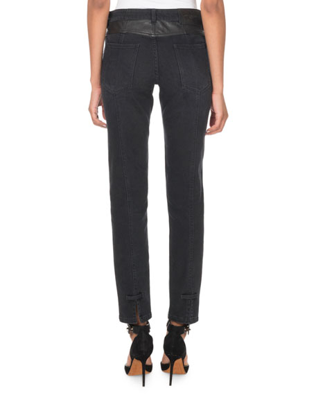 Givenchy Leather Detail Skinny Ankle Pants