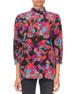 Givenchy 3/4-Sleeve Floral-Print Mock Neck Blouse