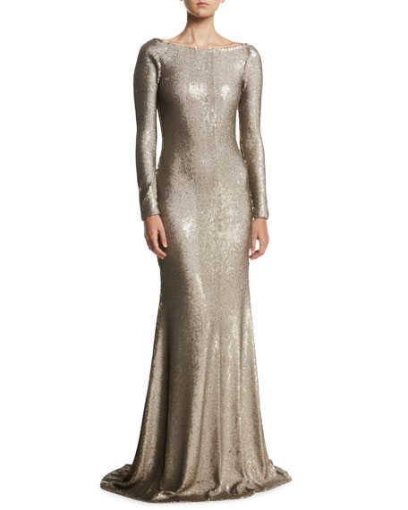 Naeem Khan Cowl-Back Boat-Neck Long-Sleeve Fitted Sequin Evening Gown