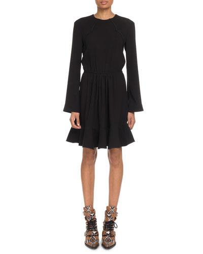Crewneck Long-Sleeve Tie-Waist Crepe Mini Dress