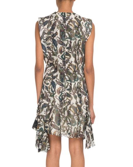 Chloe Sleeveless Paisley-Print Silk A-Line Dress w/ Lace Trim