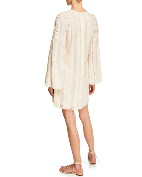 Image 2 of 2: Chloe Long-Sleeve Lace-Inset Crepe de Chine Dress