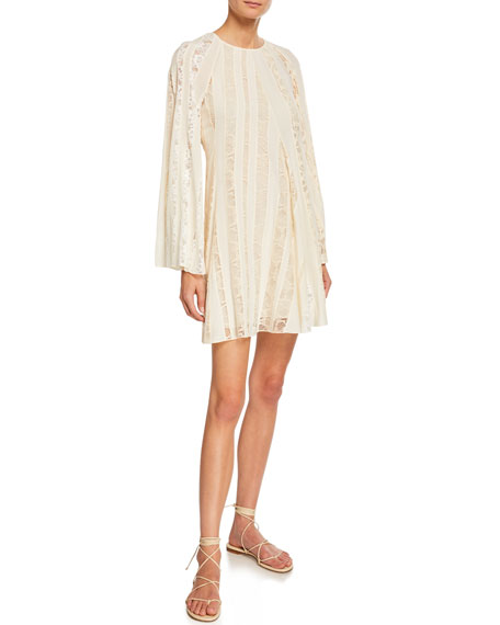 Image 1 of 2: Chloe Long-Sleeve Lace-Inset Crepe de Chine Dress