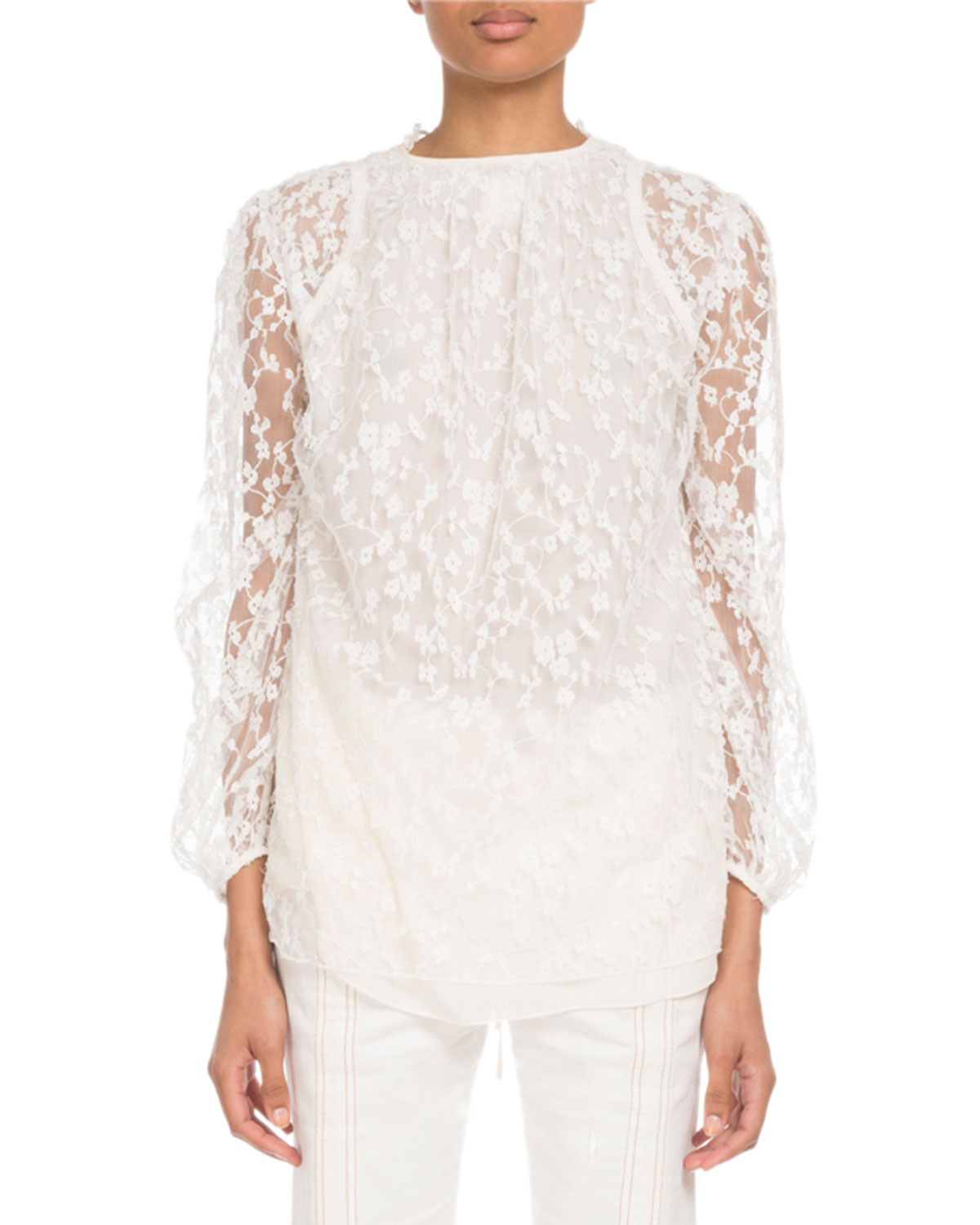 ab2f8ee3916513 Chloe Long-Sleeve Tie-Neck Floral-Lace Blouse   Neiman Marcus