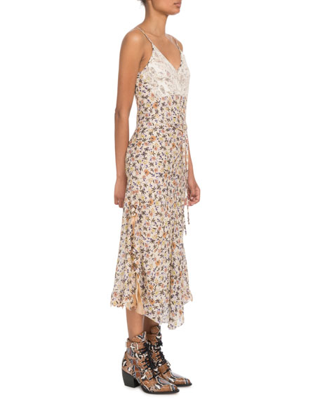Chloe V-Neck Lace-Bodice Sleeveless Floral-Print Long Dress