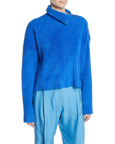 Sally LaPointe Zipper-Turtleneck Long-Sleeve Boxy Chenille Sweater