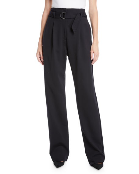 Sally LaPointe Belted High-Waist Straight-Leg Crepe Pants