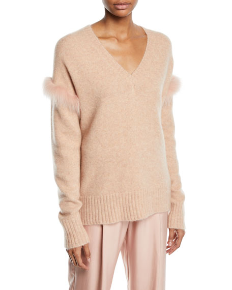 Fox-Fur Trim V-Neck Cashmere-Silk Pullover Sweater