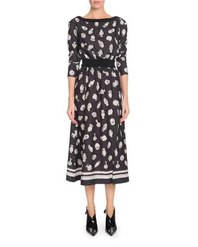 Paola Boat-Neck Pottery-Print A-Line Midi Dress w/ Ribbed Trim