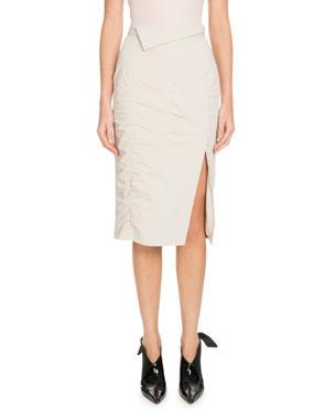 5b14bcbd4618 Altuzarra Porto Side-Slit Ruched Knee-Length Skirt