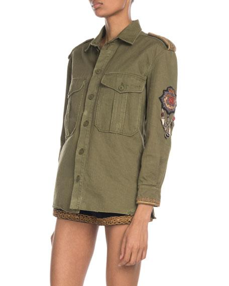 Saint Laurent Military Patchwork Shirt Jacket