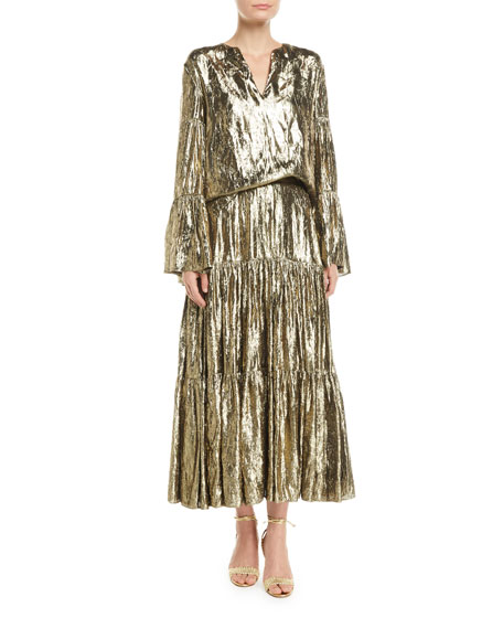 Michael Kors Collection Crushed Metallic Silk Tiered Long Skirt