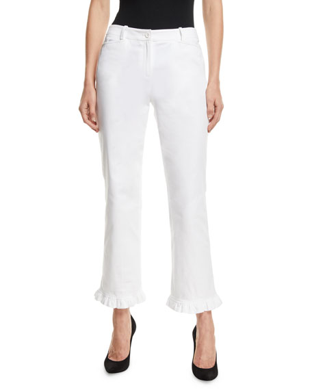 Michael Kors Collection Ruffled-Hem Straight-Leg Stretch-Cotton Trousers