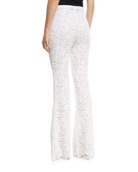 Michael Kors Collection Side-Zip Flare-Leg Floral-Lace Pants
