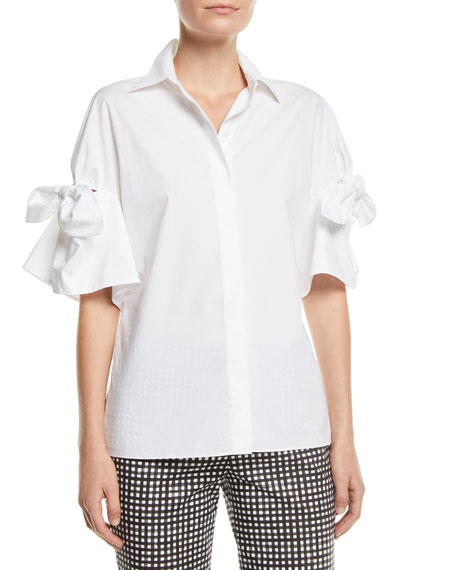 Michael Kors Collection Tie-Sleeve Button-Front Cotton Poplin Shirt