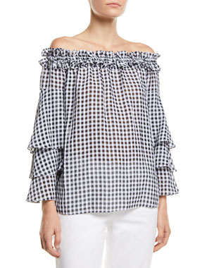 7ead5adaebe Michael Kors Collection Off-the-Shoulder Tiered-Sleeve Gingham Blouse
