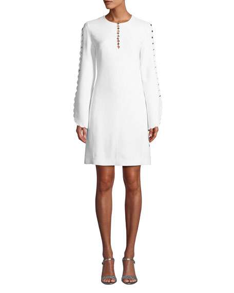 Michael Kors Collection Scalloped-Sleeve Crepe Sable Shift Dress