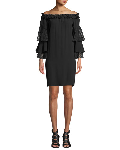 Michael Kors Collection Off-the-Shoulder Silk Shift Dress with Ruffled Lace Sleeves
