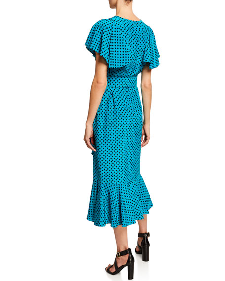 Michael Kors Collection Belted Polka-Dot Ruffled Midi Dress
