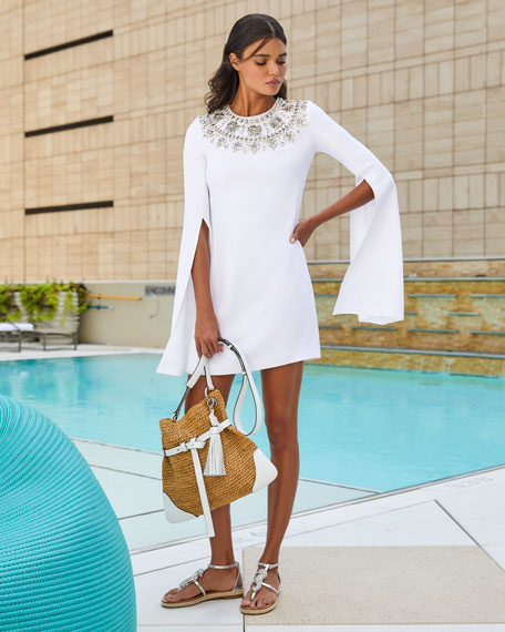Michael Kors Collection Crystal Puka-Shell Embellished Slit-Sleeve Mini Dress