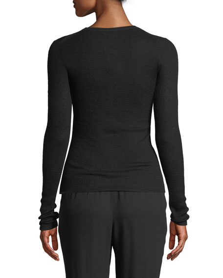 Michael Kors Collection Crewneck Long-Sleeve Featherweight Cashmere Sweater