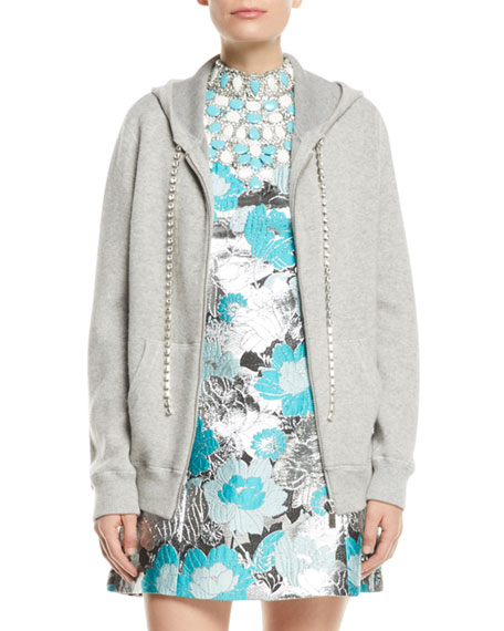 Michael Kors Collection Zip-Front Cashmere Hoodie with Embellished-Cords