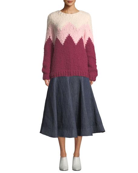 Gabriela Hearst Wytte High-Waist A-Line Ankle-Length Linen Skirt