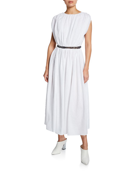 Gabriela Hearst CRISTINA V-NECK SLEEVELESS LINEN ANKLE-LENGTH DRESS W/ CHAIN INSETS