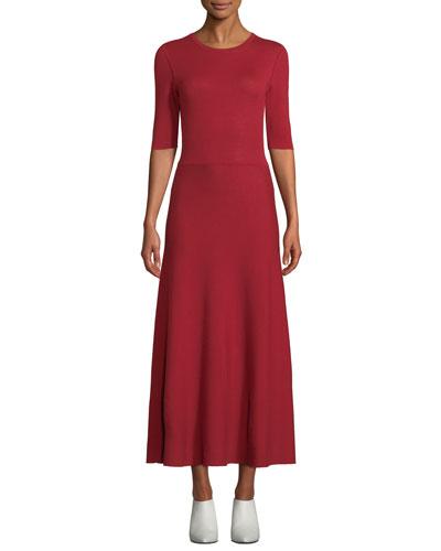 Seymore Elbow-Sleeve Crewneck Reversible Cashmere-Wool Mid-Calf Dress