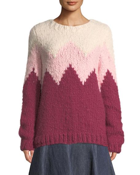 Gabriela Hearst Crewneck Zigzag Cashmere Fluff Sweater