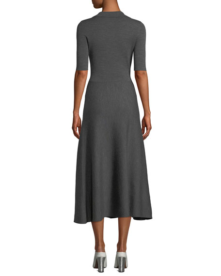 Gabriela Hearst Elbow-Sleeve V-Neck A-Line Mid-Calf Wool-Cashmere Dress