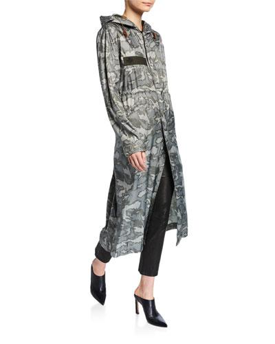 Camo Print Long Parka Coat