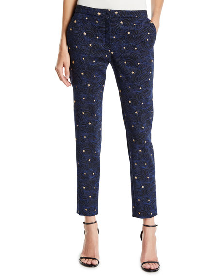 Escada Talas Night-Sky Jacquard Ankle Pants