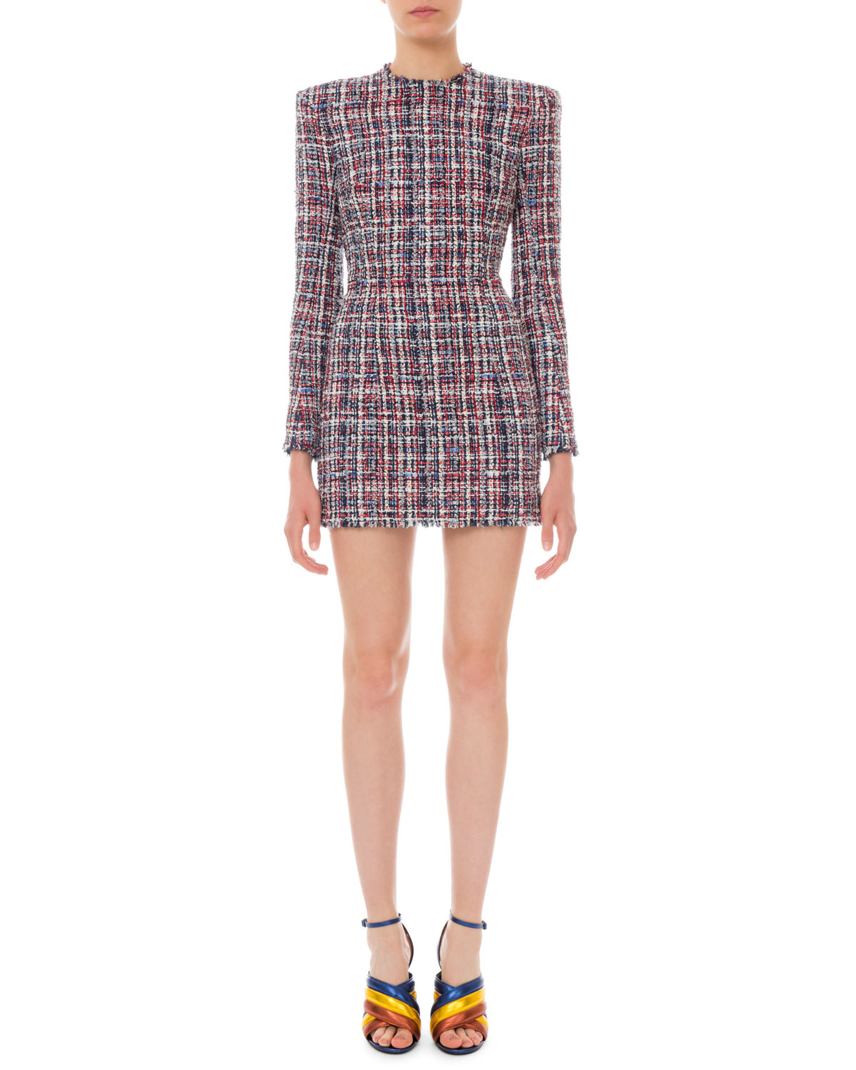 31a5941e61 Balmain Long-Sleeve Tweed Mini Dress | Neiman Marcus