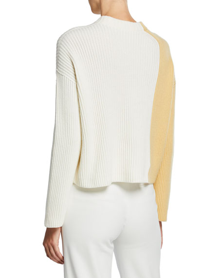 Loro Piana Two-Tone Ribbed Cashmere Sweater