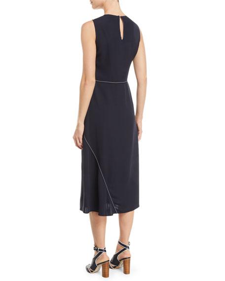 Loro Piana Sleeveless Midi Dress with Diagonal Stitching