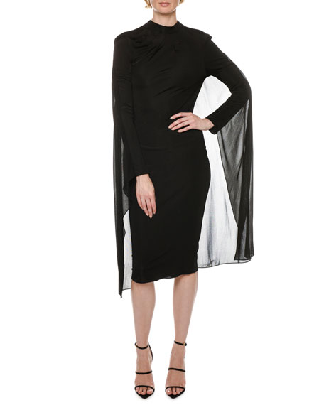 TOM FORD Cape-Back High-Neck Long-Sleeve Jersey Cocktail Dress