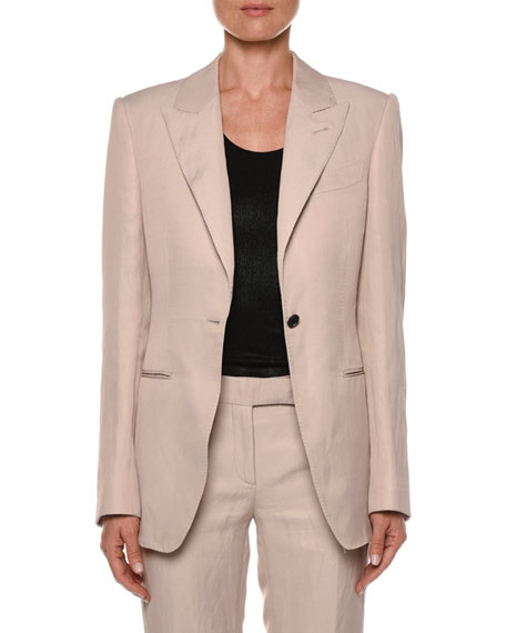 TOM FORD Peak Lapel One-Button Jacket