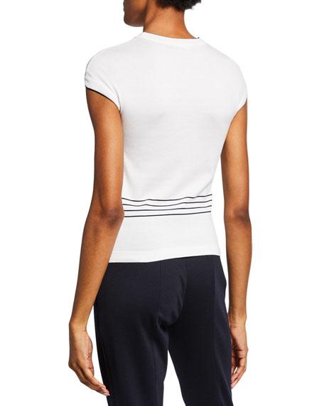 Loro Piana Cap-Sleeve Striped-Torso Sweater