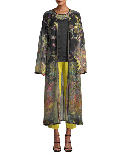 Long Paisley Print Chiffon Coat