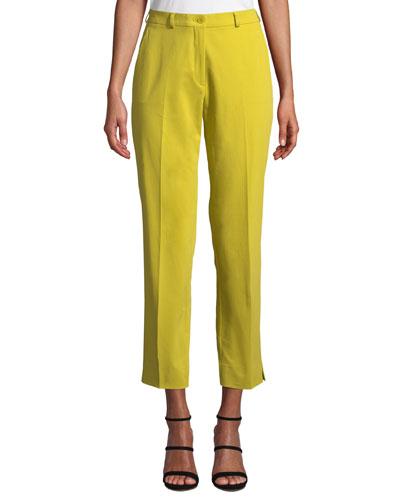 Mid-Rise Straight-Leg Stretch-Cotton Capri Trousers