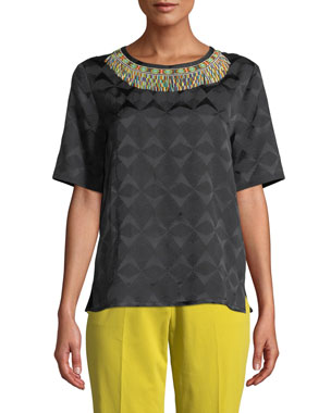 16d075d2cc Etro Short-Sleeve Beaded-Neck Jacquard Top