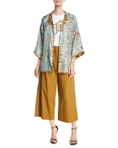Etro High-Rise Pleated-Cotton Culottes