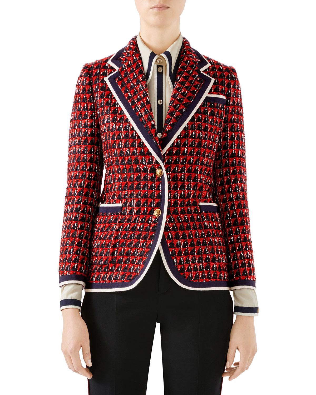 5d8ce158fef Gucci Geometric Tweed Blazer Jacket | Neiman Marcus