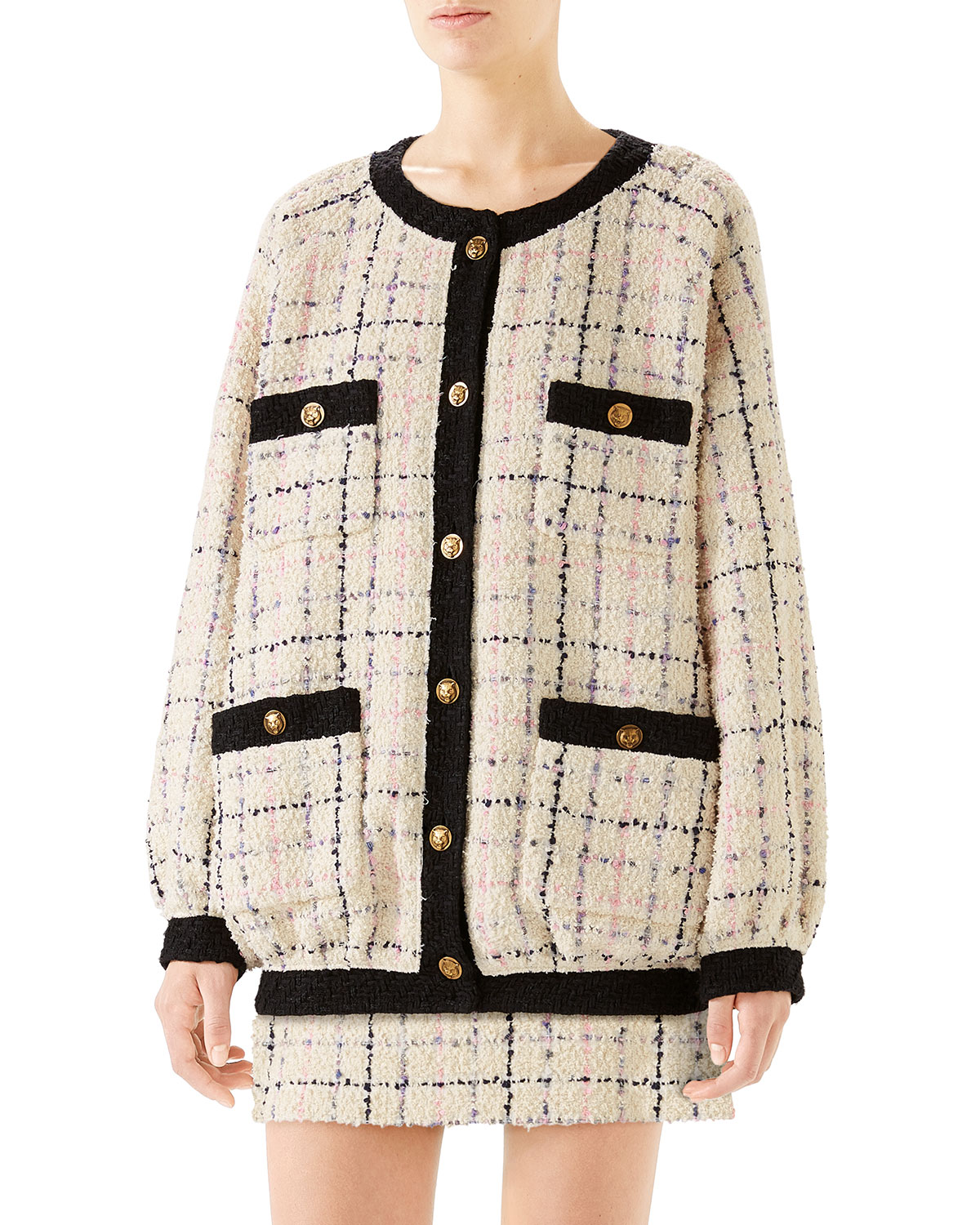 6f51df63c Gucci Oversized Tweed Bomber Jacket | Neiman Marcus