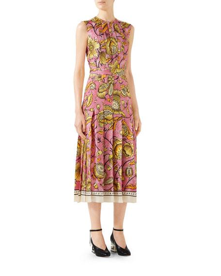 Gucci Sleeveless Watercolor-Floral Silk Midi Dress
