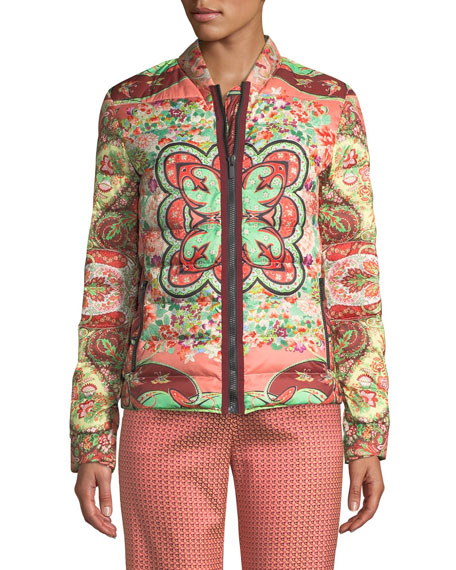 Etro Garden Floral Paisley Quilted Zip-Front Jacket