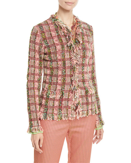Etro Fringe-Trim Checkered-Tweed Jacket